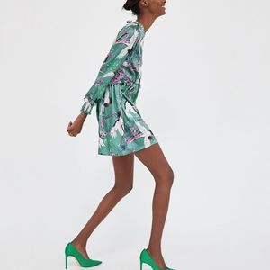 Heron Print Silk Dress